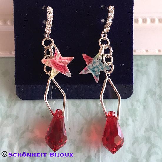 スワロフスキーと和風星チャームピアス/Swarovski and Star Charm Earrings