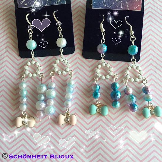 コットンパールとスワロフスキーピアス/Swarovski Cotton Pearl Earrings (Silver)