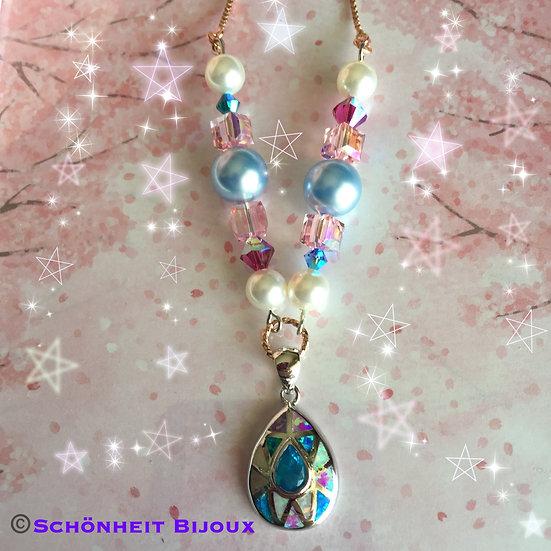 オパールとスワロフスキークリスタルネックレス/Opal and Swarovski Crystal Necklace (Pink Gold)