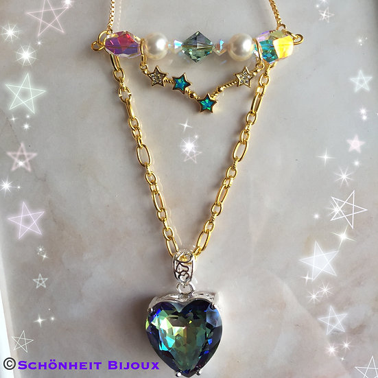 2連レインボートパーズスワロフスキー星座チャームネックレス/Rainbow Topaz Star Swarovski Necklace (Gold)