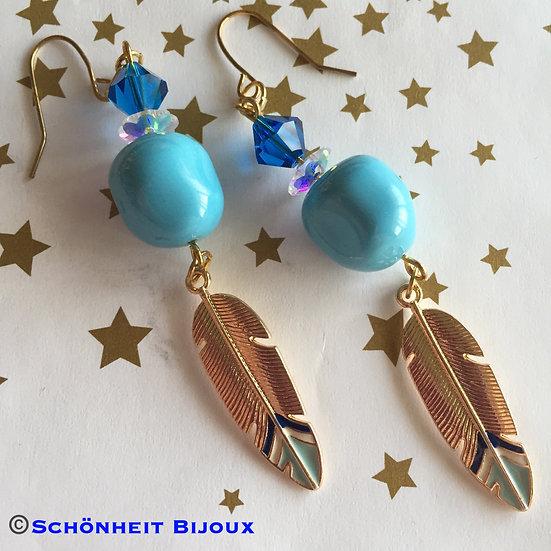 レアなスワロフスキーパール使用大振りフェザーピアス/Swarovski Turquoise Pearl Feather Earrings (Gold)