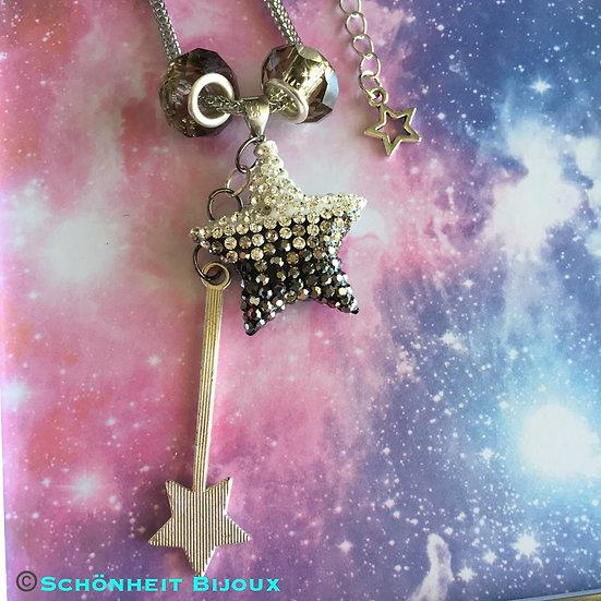 グレークリスタルスターネックレス/ Gray Crystal Star Necklace