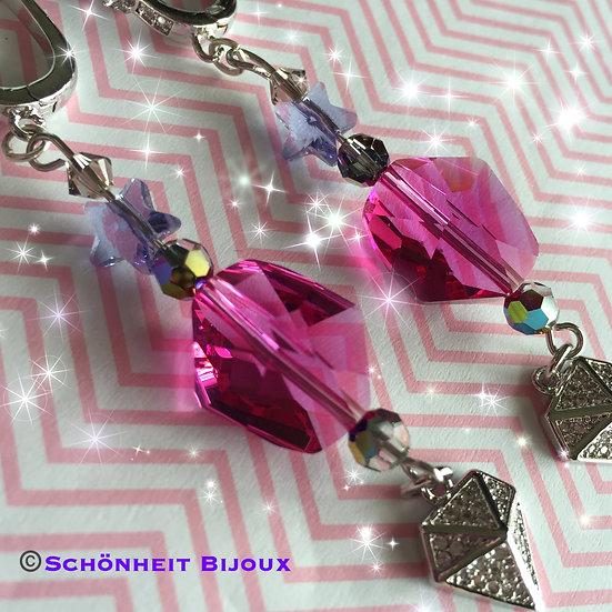 スワロフスキーとキュービックダイヤモンドチャームピアス/Swarovski & Cubic Diamond Charm Earrings (Silver)