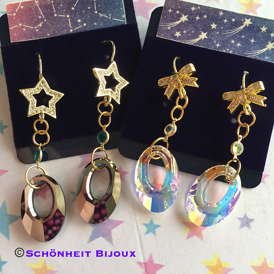 スワロフスキークリスタルペンダントデザインピアス/Swarovski Crystal Helios Pendant Earrings (Gold)