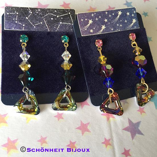 スワロフスキー三角リングピアス/Swarovski Crystal Triangle Ring Earrings