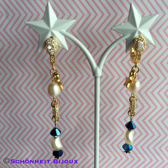 スワロフスキークリスタルとパールのピアス/Swarovski Crystal and Pearl Earrings (Gold)