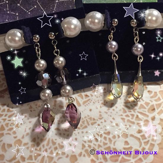 スワロフスキークリスタルペンダントトップとパールピアス/Swarovski Crystal Pendant Pearl Earrings (Silver)