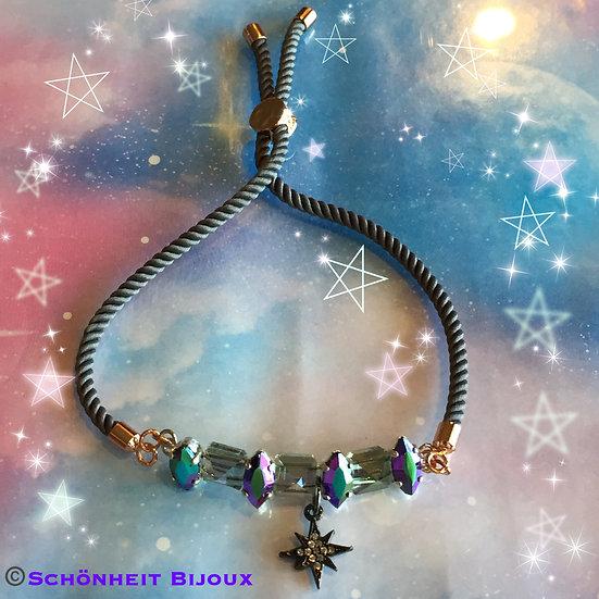 スワロフスキースパイクビーズのチャームブレスレット/Swarovski Spike Beads Cord Bracelets (Pink Gold)