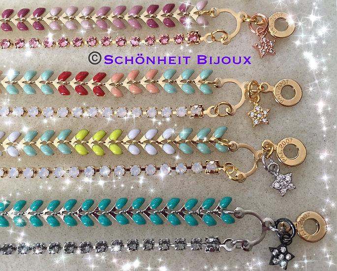 2点セット スワロフスキー連爪チェーン2連ブレスレットとピアス/2pc Set Swarovski Crystal Chain Bracelet Earring