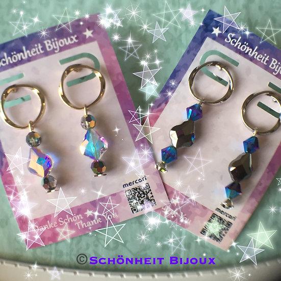 スワロフスキークリスタル付きメビウスの輪ポストピアス/Mevius Ring Earrings Swarovski Crystal (Gold, Silver)