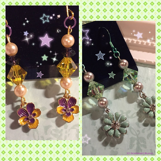 スワロフスキーフラワーチャームピアス/Swarovski Flower Charm Earrings