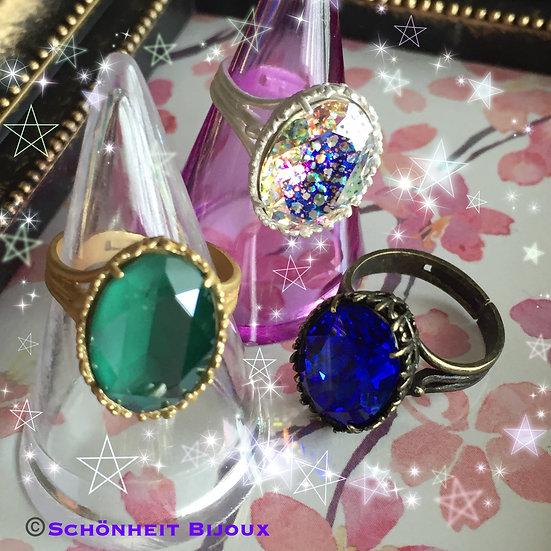 大粒スワロフスキークリスタルリング/Swarovski Large Crystal Ring
