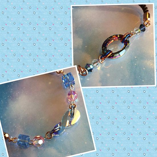 スワロフスキーチャームブレスレット/Swarovski Pendant Cord Bracelets (Pink Gold)