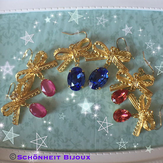大粒クリスタルリボンピアス/Big Swarovski Crystal Ribbon Earrings (Gold)