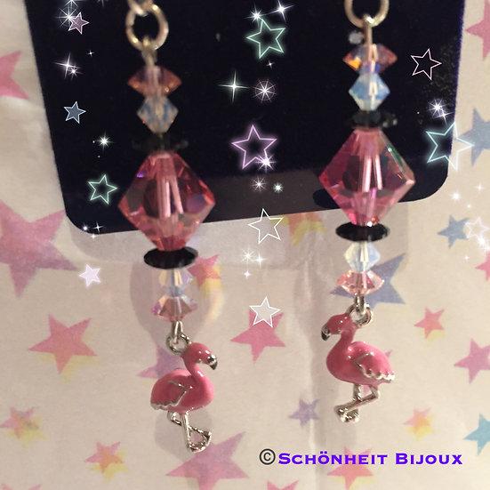 スワロフスキーとフラミンゴチャームピアス/Swarovski and Flamingo Charm Earrings