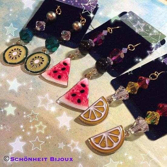 スワロフスキーとフルーツチャームピアス/Swarovski Fruit Charm Earrings (Gold)