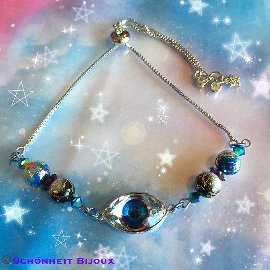 アイモチーフのスワロフスキークリスタルブレスレット/Eye Motif Swarovski Crystal Bracelet