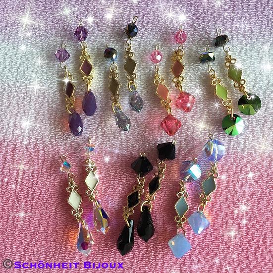 7色のエレガントスワロフスキークリスタルピアス/Colorful Elegant Swarovski Crystal Earrings (Gold)