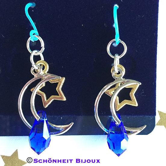 三日月とスワロフスキークリスタル雫ピアス/Crescent Moon and Swarovski Crystal Drop Earrings