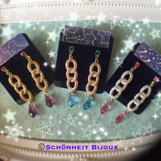 スワロフスキークリスタルとキュービックジルコニアチェーンピアス/Swarovski Crystal Cubic Zirconia Chain Earrings