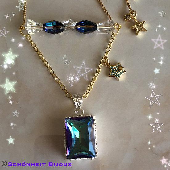 スワロフスキークリスタルとレインボートパーズネックレス/Swarovski Crystal and Rainbow Topaz Necklace (Gold)