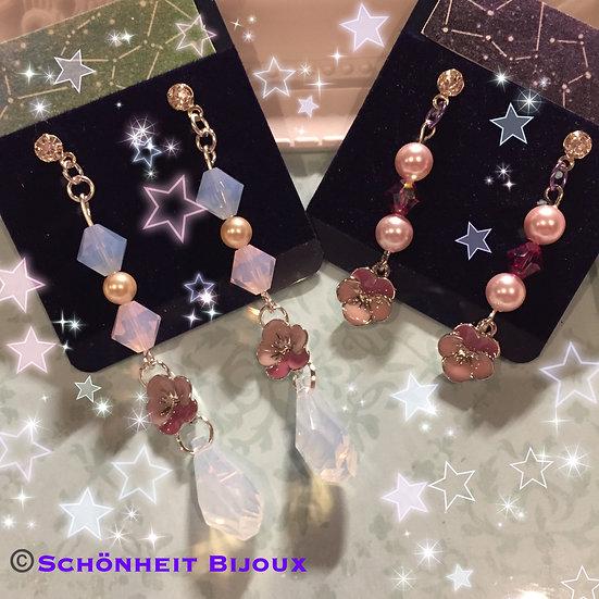 スワロフスキーピンクビオラチャームピアス/Swarovski Pink Viola Flower Charm Earrings (Silver)