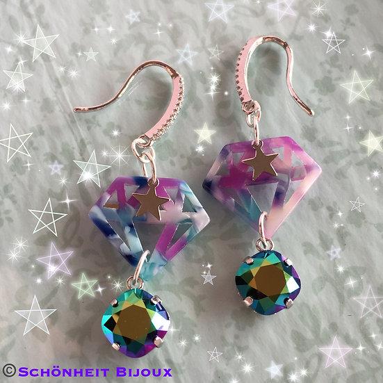 スワロフスキーとダイヤモンドチャームピアス/Swarovski Rhinestone and Diamond Charm Earrings (Silver)