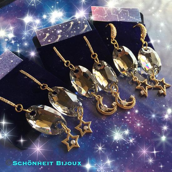 大粒スワロフスキークリスタルと14kgf星チャームピアス/Swarovski Crystal Earrings 14kgf Star Charm (Gold)