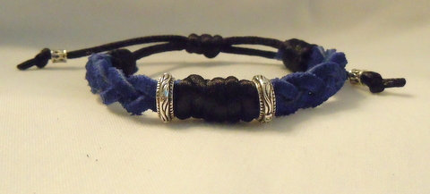 Cobalt Blue Braid with two Tibetan Beads CBB 101