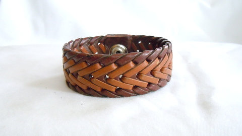 "1"" Brown and Tan Braided Cuff MB 112"