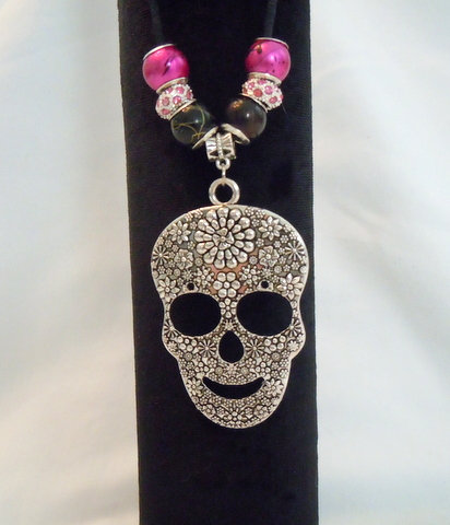 Large Silver Sugar Skull Necklace with Beads
