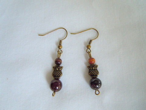 Bronze Owl Earrings with Brown Beads ER 119