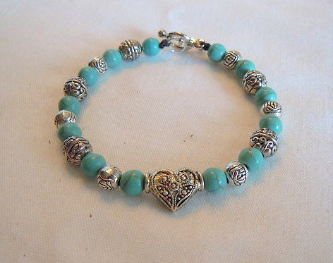 Turquoise and Silver Beaded Bracelet SB 101