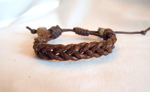 Medium Brown Leather Fishtail Braid  DB 4