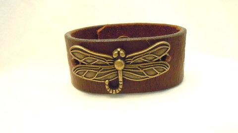 """1.25"""" Brown Leather Cuff with Dragonfly CBB 120"""