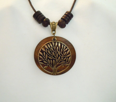 Bronze and Wooden Tree of Life Necklace NK 122