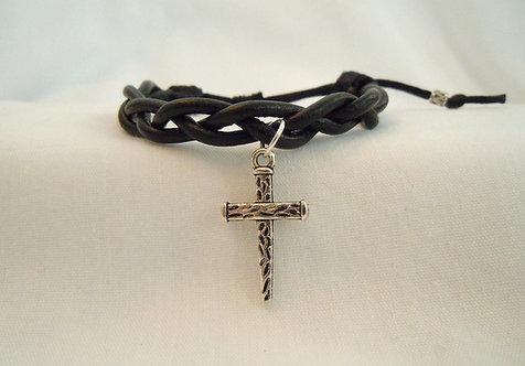 Black Leather Braid with Cross Bracelet BBB-120
