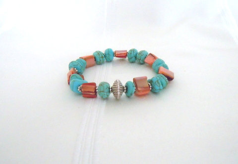 Turquoise and Coral with Silver Tibetan Bead TU102