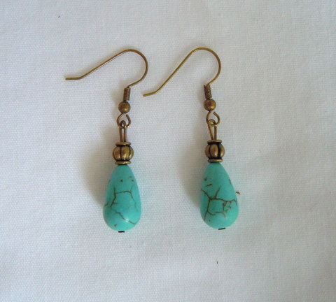 Tear Drop Turquoise and Bronze Earrings ER 102