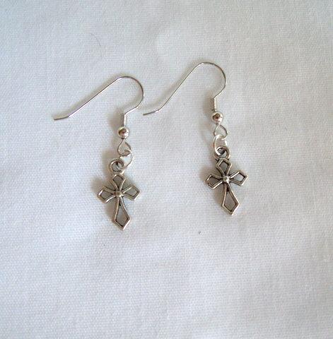 Silver Cross Earrings ER 108