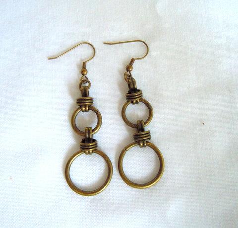 Bronze Double Circle Earrings ER 103