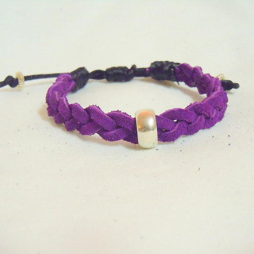 Purple Suede Silver Bead Bracelet PLB 101