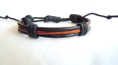 Black and Brown Leather Cord Stacked MB 123