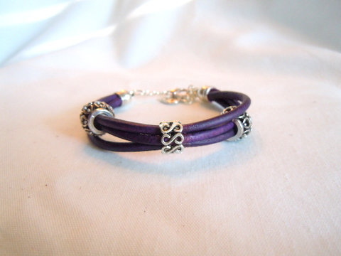 Purple Leather with Tibetan Beads PBR 101