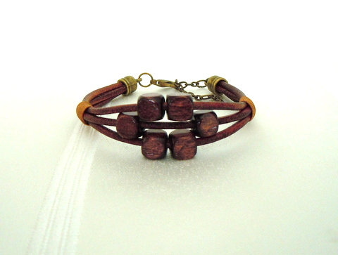 3 Strand Brown Leather cord w/ wooden beads WB101