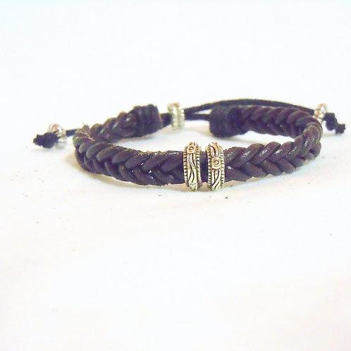 Brown Fishtail Braid with Tibetan Beads BLB 42