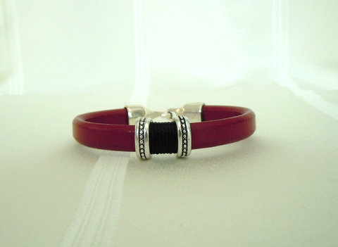 Burgundy Leather with Silver Beads LL101