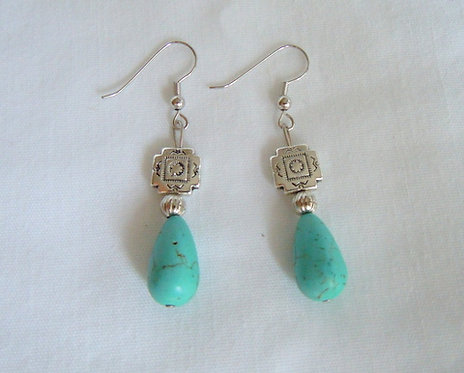 Turquoise and Silver Tibetan Square Bead ER 124