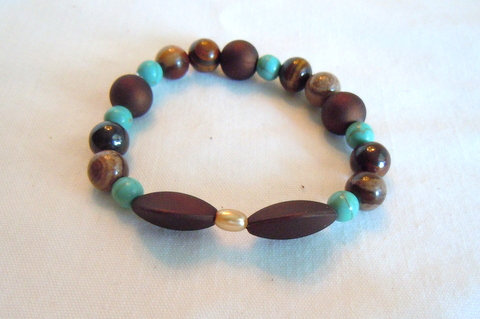 Turquoise and Brown Beaded Bracelet SB 102