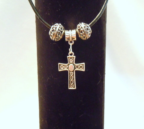 Silver Cross with Silver Tibetan Beads NK 140